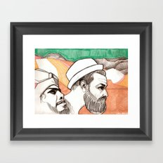 Two men and the mountains Framed Art Print
