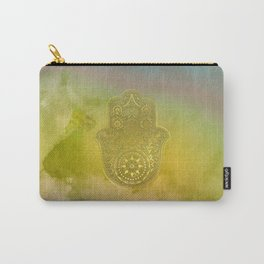 Colorful Watercolor And Gold Hamsa Hand Carry-All Pouch
