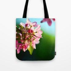Pink Flowers Blue sky Tote Bag