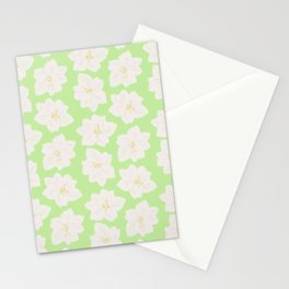 Watercolor Magnolias in Key Lime Stationery Cards