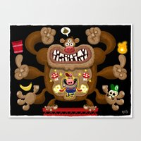 donkey kong Canvas Prints featuring Mario vs Donkey Kong by Jorge R. Gutierrez