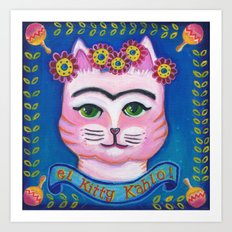 el Kitty Kahlo Art Print