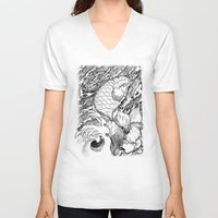 koi fish V-neck T-shirts featuring Koi Fish by Disturbed