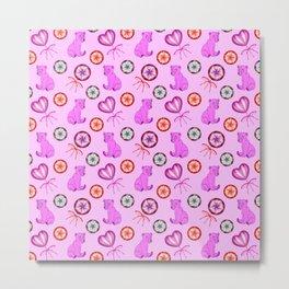 Little pink baby bear cubs, sweet vintage retro lollipops. Cute girly pink winter pattern design. Metal Print