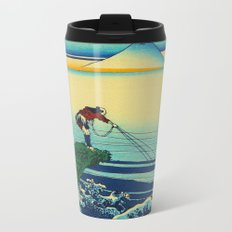 Vintage Japanese Art - Man Fishing Metal Travel Mug