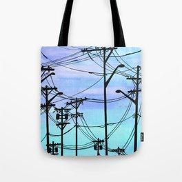 Industrial poles blue Tote Bag