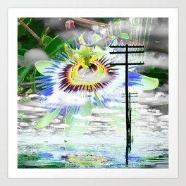 High Voltage on passionflower Art Print