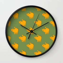 Cute Yellow Cats Pattern | Green Wall Clock