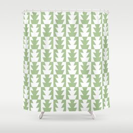 Art Deco Jagged Edge Pattern Sage Green Shower Curtain
