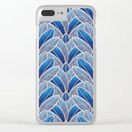 Art nouveau leaf pattern blue Clear iPhone Case