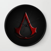assassins creed Wall Clocks featuring CREED ASSASSINS LOGO by Bilqis