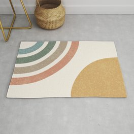 Mid Century Colorful Sun & Rainbow Rug