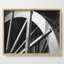 Waterwheel Gießenbach, black and white Serving Tray