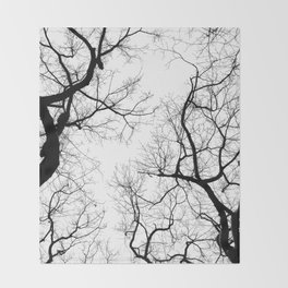 Black and white tree top silhouettes... Throw Blanket
