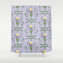 Iris Flowers Illustrated Pattern Purple Green Yellow Summer Garden Shower Curtain