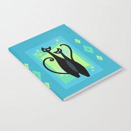 Sassy Sparkling Atomic Age Black Kitschy Cats Notebook