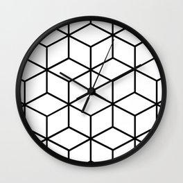 Black and White - Geometric Cube Design I Wall Clock