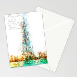 Burj Khalifa, Dubai, Aquarell Stationery Cards
