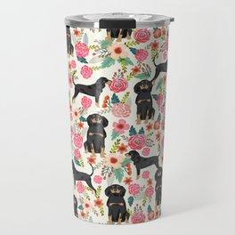 Coonhound floral pattern dog breed customized pet portrait gifts for dog lover Travel Mug