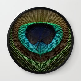 Peacock Feather Symmetry i Wall Clock