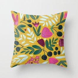 Mustard bouquet Throw Pillow