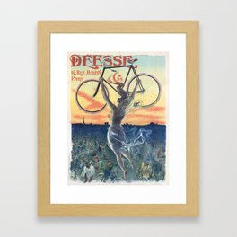 Vintage French Bicycle Poster 1898 Framed Art Print