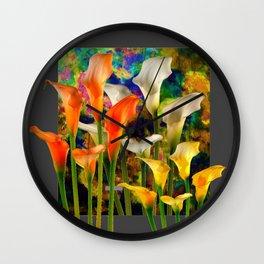 Orange Ivory & Golden Color Calla Lilies Golden Art Wall Clock