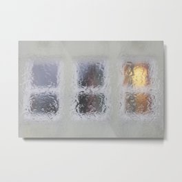 Windows in rain Metal Print