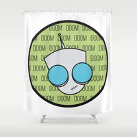 doom Shower Curtains featuring Gir Doom by Edna Andrade