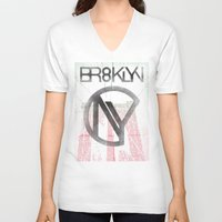 brooklyn V-neck T-shirts featuring BROOKLYN by designgraphics