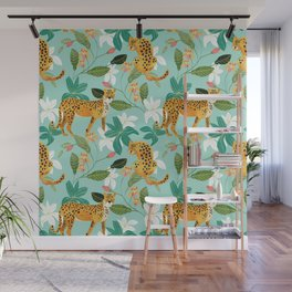 Cheetah Jungle #illustration #pattern Wall Mural