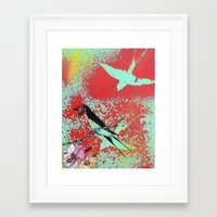 swallow Framed Art Prints featuring Swallow by MinxInk