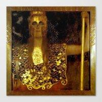 "gustav klimt Canvas Prints featuring ""Pallas Athena"", Gustav Klimt by Vintage Germany"