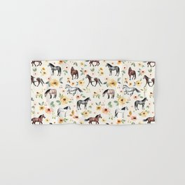 Horses and Flowers, Sunrise Floral, Cream, Horse Print, Horse Illustration, Pink and Yellow, Equestrian, Little Girls Hand & Bath Towel