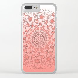 Living coral coffee mandala No1 Clear iPhone Case