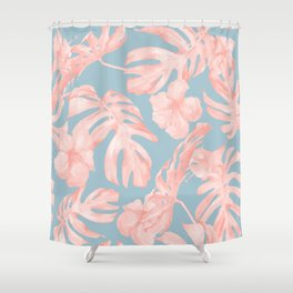 Island Life Millennial Pink on Pale Teal Blue Shower Curtain