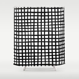 Hand-painted Grid Shower Curtain
