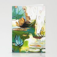 "flora bowley Stationery Cards featuring ""Rise Above"" Original Painting by Flora Bowley by Flora Bowley"