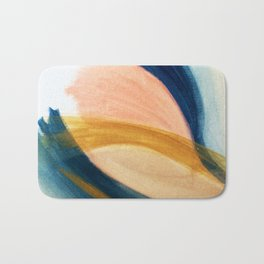 Slow as the Mississippi - Acrylic abstract with pink, blue, and brown Bath Mat