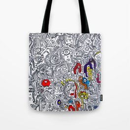 Pattern Doddle Hand Drawn  Black and White Colors Street Art Tote Bag
