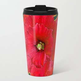 RED HOLIDAYS CANDY CANES & RED  FLOWER ABSTRACT Travel Mug