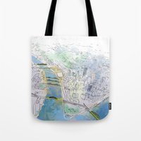 pittsburgh Tote Bags featuring Pittsburgh by Jen Joyce