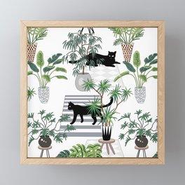 cats in the interior pattern Framed Mini Art Print