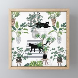 cats in the interior pattern Framed Mini Art Print