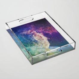 Astronaut dissolving through space Acrylic Tray