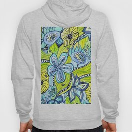 Turquoise, Yellow, and Green Floral Hoody