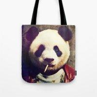 tyler durden Tote Bags featuring Panda Durden by rubbishmonkey
