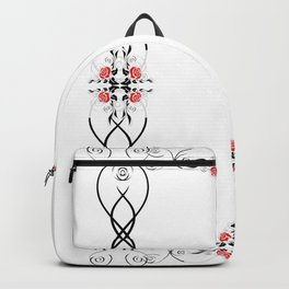 Floral frame with roses Backpack