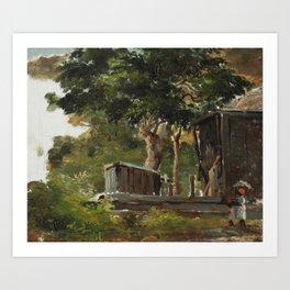 "Camille Pissarro ""Scène villageoise"" Art Print"