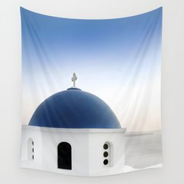 Santorini White and Blue Church View Wall Tapestry
